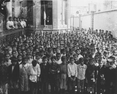 Students and teachers in the schoolyard during a ceremony, 1910, Fototeca Nacional, INAH (Instituto Nacional de Antropologia e Historia), Mexico